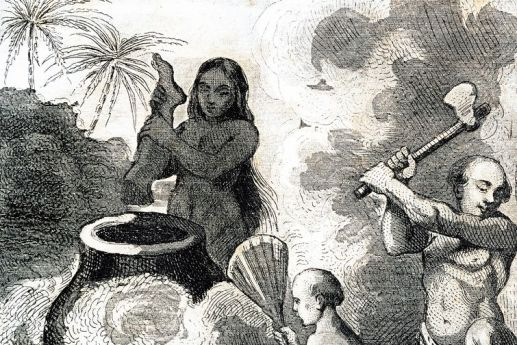 Unincisione-raffigurante-la-pratica-del-cannibalismo-in-Brasile